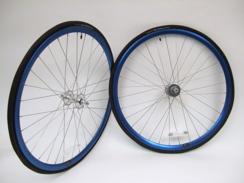 Wheels Alex Crostini R1.1 Blue Anodized Wheel Set SE High Flange Hubs Image
