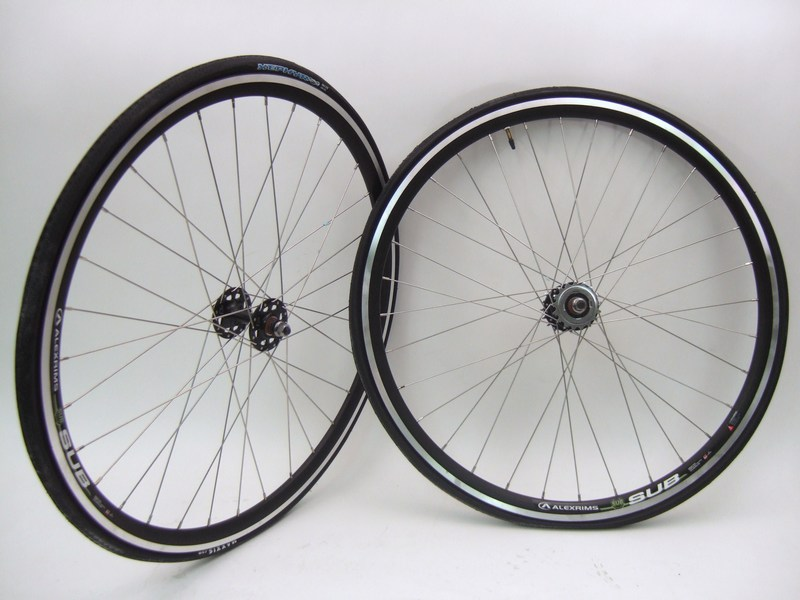 Parts 700c Alex Sub Track Wheel Set  LOADED Tires Tubes Cog Freewheel Image