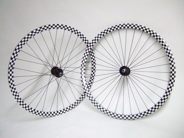 Parts 700c Checkerboard Track Wheels Surly Hubs Velocity Deep V Rim Image