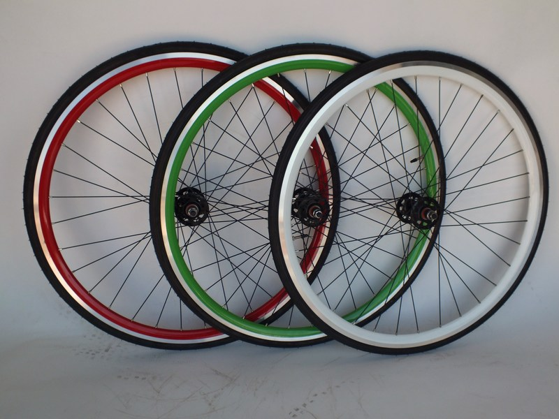 Wheels Green, Red or White Sealed Doublewall Flip-Flop Track wheels with Tires Image