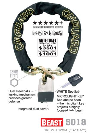 Accessories On Guard Beast Chain & Key Padlock 3.7' x 12mm Image